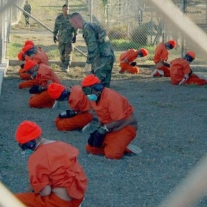 Guantanamo prisoners at recess.